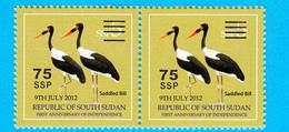 SOUTH SUDAN Surcharge Overprint ERROR Extra Space Between Cancellation Bars OP On 5 SSP Stamp Südsudan Soudan Du Sud - South Sudan