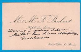 Mr & Mme BARBECOT HOTEL DES SOURCES MONT-DORE-LES-BAINS - Cartes De Visite