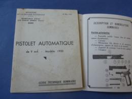INDOCHINE / GUIDE TECHNIQUE PISTOLET AUTOMATIQUE MAC MODELE 1950 / ORIGINAL EDITION 1951 - Armes Neutralisées