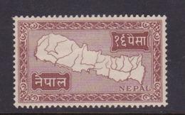 Nepal Scott 77 1954 Map 1p Red Brown.mint Never Hinged - Nepal