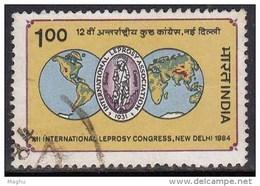 India Used 1984, Leprosy Congress, Health, Disease, Logo & Hemispheres,   (image Sample) - India