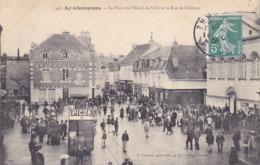 CPA - 51 - AY - La Place De L'hôtel De Ville Et La Rue De Châlons - 346 - Bazancourt