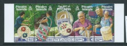 Pitcairn Islands 2002 Arts Series II Weaving Strip Of 4 With Central Label MNH - Stamps