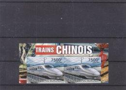 Trains Chinois - Burundi - COB 1653 ** - NON Dentelé - En Paire - Valeur 70 Euros - Trains