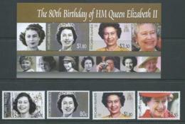 Pitcairn Islands 2006 QEII 80th Birthday Set 4 & Miniature Sheet MNH - Stamps