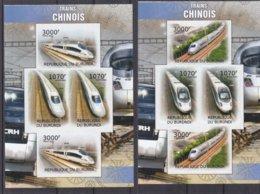 Trains Chinois - Burundi - COB 1634 / 7 ** - NON Dentelé - En Feuille Avec 2 Séries - Valeur 74 Euros - Trains