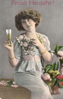 Prosit Neujahr - Frau Mit Sektglas 1914 Hochglanz - AK - Neujahr