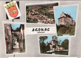 AGONAC VUE GENERALE EGLISE CHATEAU VIEILLE PORTE 1969 CPSM GM TBE - France