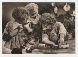 MECKI Herzliche Weihnachtsgrudde Hérisson Et Les Enfants Jouant Avec Train Cadeau De Noël ? - Mecki