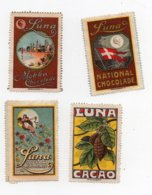 Erinnophilie Vignette Chocolat Luna National Chocolade Cacao Mokka (4 Vignettes) - Erinnophilie