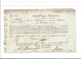 Obligation Sur Produit Enchères ,14 Thermidor An 9 N 1527 - Actions & Titres