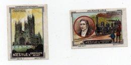 Erinnophilie Vignette Nestlé's Chocolats Au Lait Inventeurs Stephenson Cathédrales Gothiques Westminster (2 Vignettes) - Erinnophilie