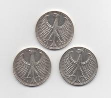 ALLEMAGNE : 3 Pièces En Argent De 5 DEUTSCHE MARK 2: 1951 .D. 1: 1958 .G. - [ 7] 1949-… : RFA - Rép. Féd. D'Allemagne