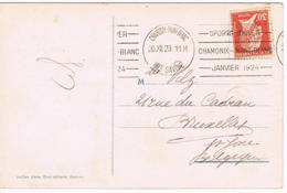OLYMPIC CHAMONIX 1924 CACHET PRESTIGE, BELLE FRAPPE, CARTE MAGNIFIQUE COULEUR Avec La Mer De Glace Presque Disparue - Ete 1924: Paris