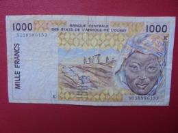 AFRIQUE De L'OUEST 1000 FRANCS 1991-2003 CIRCULER (B.8) - États D'Afrique De L'Ouest