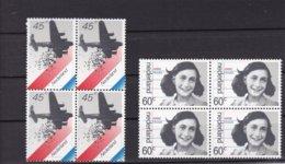 1980 Bevrijding - Second World War, Bomber, Anne Frank NVPH 1198-1199 In Blokken Van 4 MNH** - Nuovi