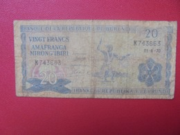 BURUNDI 20 FRANCS 1970 CIRCULER (B.8) - Burundi
