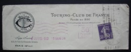 Touring Club De France Perforé Semeuse Violet 35 Centimes Sur Haut De Lettre De 1926 (lettre Incomplète Voir Photo) - Perfin