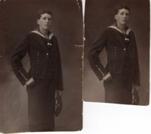 2 X Studiofoto - Mann Im Matrosenanzug Stehend Ca 1920 Kiel Matrose - Fotografie