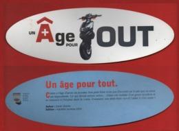 #102#   MEDIATHEQUE DE BLANQUEFORT : UN AGE PORU TOUT * HACHETTE JEUNESSE Ed. - SCOOTER * - MARQUE PAGE DETOURE - Marque-Pages