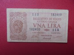ITALIE 1 LIRA 1944 CIRCULER (B.8) - Italia – 1 Lira