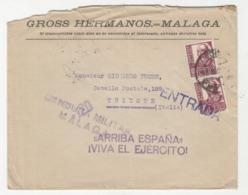 "Gross Hermanos Malaga Company Letter Cover Travelled To Trieste - Censored - ""Arriba Espana"" B190922 - 1931-Aujourd'hui: II. République - ....Juan Carlos I"