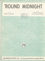 Partition Musicale Ancienne  ,Bernie Hanighen , Cootie Williams And Thelonius Monk ,'ROUND MIDNIGHT , Frais Fr 1.85 - Partitions Musicales Anciennes
