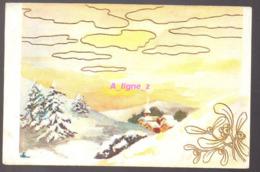 REF 407 : CPA Paysage D'hiver Carte Avec Fleurs Et Nuages En Relief, Gauffré Edition Belfrance Caen - Fantaisies