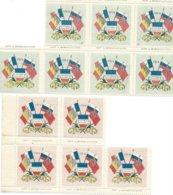 Erinnophilie, Lot De 12 Vignettes Patriotiques Neuves 1914, Bon état. - Timbres