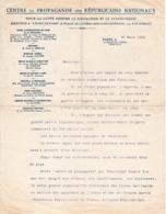 1936 - FRONT POPULAIRE - Centre De PROPAGANDE Des RÉPUBLICAINS NATIONAUX Pour Lutter Contre Le Socialisme - Documentos Históricos