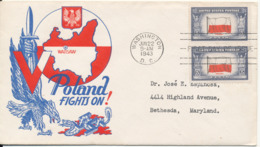 USA FDC Washington 22-6-1943 Overrun Countries Poland Fights On With Nice Cachet - Premiers Jours (FDC)