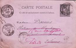 FRANCE - 1884 - Entier Postal De Celles-sur-Belle Pour Saint-Maixent Redirigée Vers Paris - OR - Standard Postcards & Stamped On Demand (before 1995)