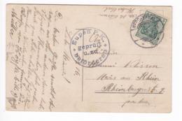 30/139 -- CANTONS DE L'EST - Carte Fantaisie Fraulein Marine TP Germania HERBESTHAL 1916 Vers MORS Rhein - Censure EUPEN - Otros