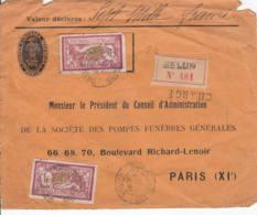 FRANCE - 1917 - Devant De Lettre Recommandée De Melun Pour Paris - Chargé - Valeur Déclarée - 1900-27 Merson