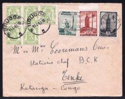 LETTRE AVION DE BRUGES > BCK CONGO TENKE 1940 - OBP 418a BLOC + 484 + 520  / 521 - Flamme - Marcofilia