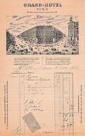 1896 - GRAND HÔTEL - PARIS 12, Bld Des Capucines - - Documents Historiques
