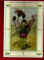 CP Illustrateur Cicely Mary Barker Flower Fairy Flockenblume - Enfant Elfe Fillette Papillon Fleur Chardon - Illustrateurs & Photographes