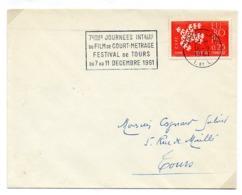 France N° 1309 Y. Et T. Indre Et Loire Tours Gare Flamme Illustrée Du 16/09/1961 - Marcophilie (Lettres)