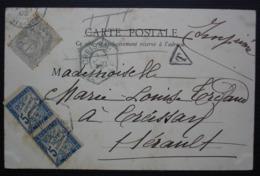 1902 Carte De La Bourboule Avec Taxe 5 Centimes à Percevoir En Paire + 1 Centime Seul Pour Creissan Cachet Hexagonal - Postage Due Covers