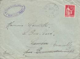 FRANCE -  1934 - Lettre Commerciale De Damville Pour Beaumont-le-Roger Redirigée Evrs Emanville - 1932-39 Peace