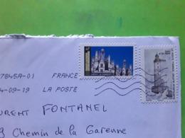 France Lettre Prioritaire DOUBLE PORT Timbre Chateau De Chambord / Phare D' Ar Men , 2019, TB - Marcophilie (Lettres)