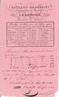 1831 - CHÂTELLERAULT - Roulage CHÂTILLON Aîné, Frères Et Cie - Pour PARIS - Documents Historiques