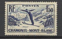 France N°   334  Championnat Du Monde De Ski Chamonix  Neuf  * B/TB = - MH F/VF  Soldé à  Moins De 15 % ! ! ! - Ski