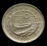 Malta 5 Cents 1986. Animal Coin. Crab. Circulated. Km77 - Malta