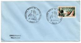 France N° 1315 Y. Et T. Paris Cachet Commémoratif Philatec Paris 64 Grand Palais 21/06/1964 - Marcophilie (Lettres)