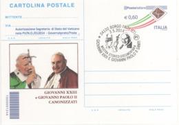 Italia 2014 Borgo Faiti Canonizzazione Dei Papi Giovanni XXIII E Giovanni Paolo II Annullo Cartolina - Cristianismo
