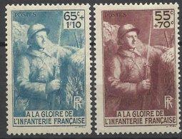 France N°   386 Et 387     A La Gloire De L'Infanterie Neufs  * * TB= - MNH VF  Soldé à  Moins De 15 % ! ! ! - Châteaux