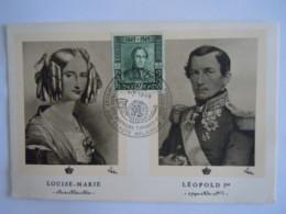 België Belgium 1949 Maximum Carte Eeuwfeest Centenaire 1er Timbre Koning Roi Leopold I Reine Louise-Marie Cob 807 - Cartes-maximum (CM)