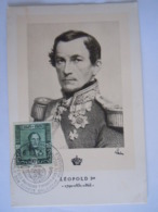 België Belgium 1949 Maximum Carte Eeuwfeest 1ste Zegel Centenaire 1er Timbre Koning Roi Leopold I Cob 807 - Cartes-maximum (CM)