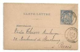 CARTE LETTRE DE 1891 DE LANGOIRAN GIRONDE A PARIS  AVEC REPIQUAGE INTERIEUR  / CHATEAU LAGAROSSE A DE GAULNE B795 - Entiers Postaux